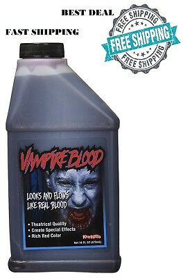 16 Oz Stage Fake Blood Horror Makeup Vampire Arterial Halloween Prop Party Prank