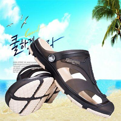 Men's Breathable Slippers Hollow out Beach Sandals Garden Hole Shoes FC