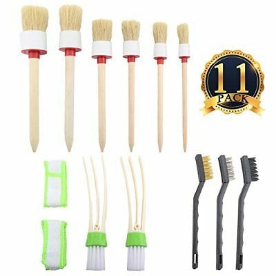11 Pcs Detailing Brush Kit Exterior Interior Car Motorcycle Automotive Cleaning
