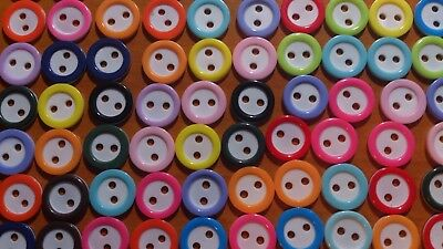 Buttons Mixed colours x 100 size 10mm -2 holes- Craft - sewing - scrap booking