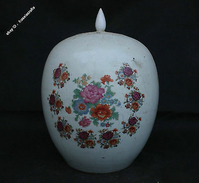 32cm Chinese Wu Cai Old porcelain Handmade Flower Pot Jar Jug General tank Cans