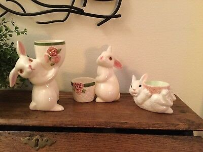Trio of Bunny Ceramic Candle Holders 1980-81 Avon Sunny Bunny and One More