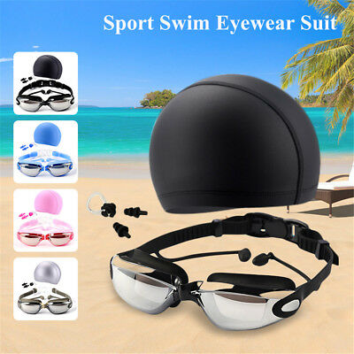 Professional Swimming Goggles Set Swim Cap Earplugs Nose Clip Swimming Pool Set