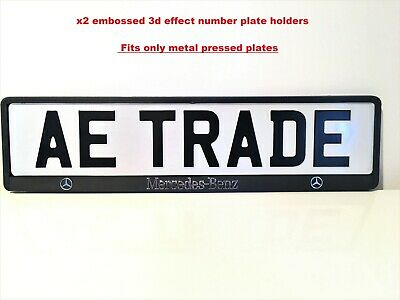 2x MERCEDES-BENZ 3D Chrome Effect Number Plate Surrounds Holder Frame