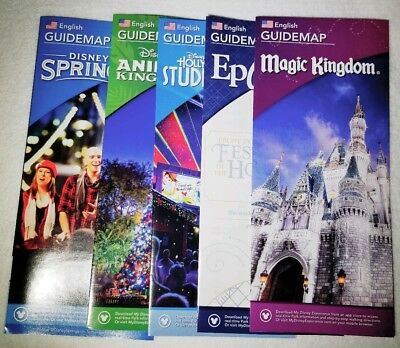 BRAND NEW 2018 Walt Disney World ALL 4 Theme Park and Disney Springs Guide Maps