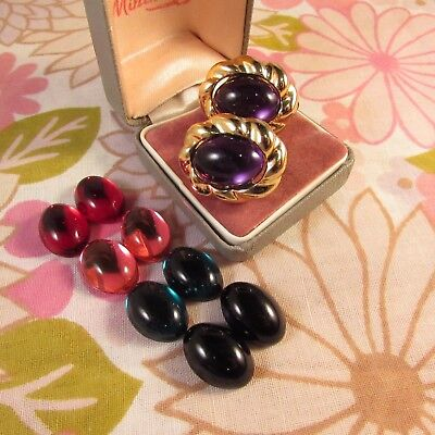 Vintage 1970s Goldtone Clip Earrings with Changeable Magnetic Plastic Centres