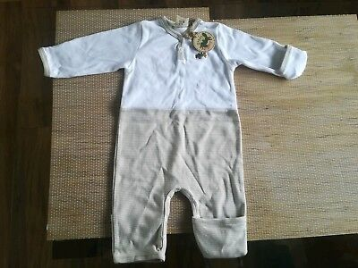 Newborn boy girl bodysuit romper, white brown long sleeve 0-3months