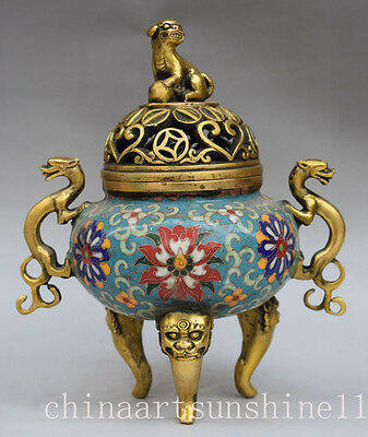 Rare Chinese Cloisonne Handmade Carved Beast Statue Incense Burner Decoration