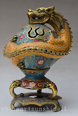 """China Old Cloisonne Handmade Carved """" Dragon Play Pearl """" Statue Incense Burner"""