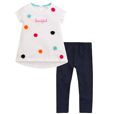MINIKIDZ Infant Kids Girls Pom Pom Top & Leggings Set Cotton Outfit Ages 2-8 Yrs