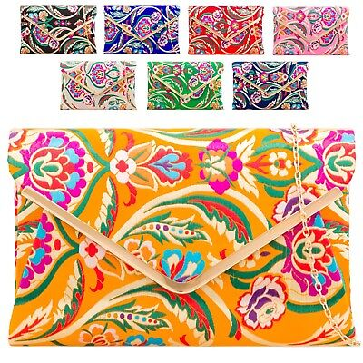 Ladies Floral Satin Clutch Bag Ethnic Flower Evening Party Purse Handbag KH2211