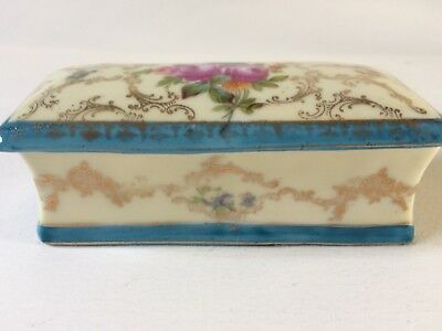 Attractive Vintage Old China Trinket Pot with Lid, Pink Roses Gilt