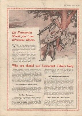 1914 Formamint Guard Medical Tablet Sickness Pegram Ad 8024