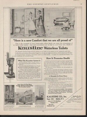 1917 Kaustine Waterless Toilet Bath Lavatory Woman Homevintage Ad 10130