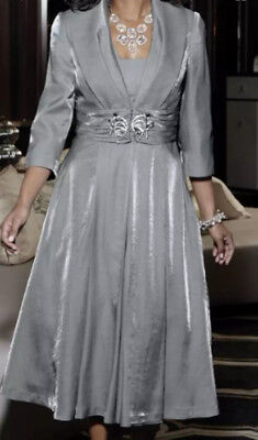 PLUS 20W - TULLE LINED FORMAL SILVER SUIT Midnight Velvet Elegant Jacket Dress