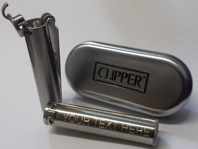 CLIPPER Engraved BRUSHED STEEL PETROL Lighter Birthday Father's Day Usher gift E