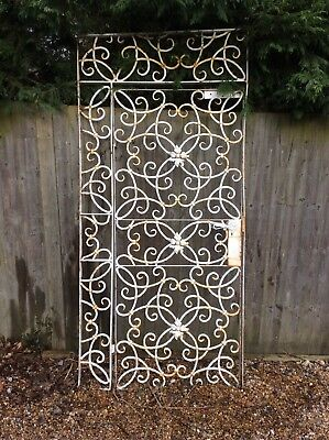 Quality lockable  French decorative single tall wrought iron gate & side panel