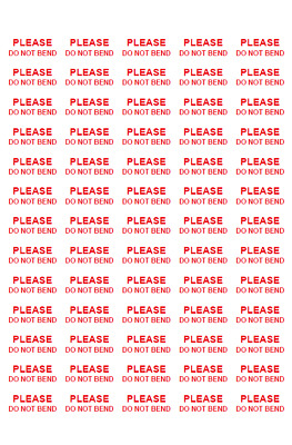520 Please Do Not Bend Stickers Labels - Self Adhesive Sticker - Postage