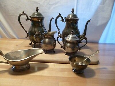 Large Lot Of Mixed Silverplated Teapots Coffee Urns Creamer Sugar Gravy Cups etc
