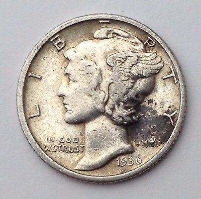 Dated : 1936 - USA - Silver Coin - United States - Mercury One Dime