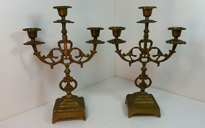 Pair Vintage Ornate Brass 3 Arm Candelabras s