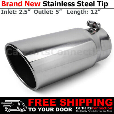 Stainless Truck Angled Polished 13 inch Bolt-On Exhaust Tip 3 In 4 Out 213165