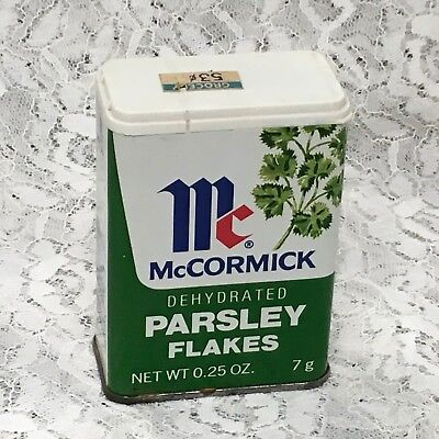 vintage McCormick PARSLEY FLAKES spice tin w/ parsley picture c)1979