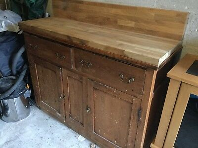 ANTIQUE SIDEBOARD including Solid Oak workTop - Ideal Renovation Project