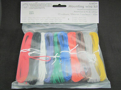 10 Color Mounting/Hookup Wire Kit - 60m - 24AWG Stranded - Velleman K/MOW