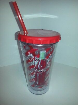 Coca-Cola Coke 18 Oz Tumbler Double Wall Insulated W/straw Cool Gear 2012