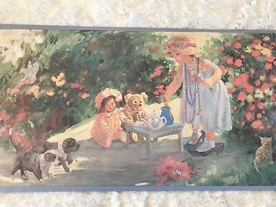 Pre-pasted Wall Border - Teddy Bear Picnic/ Tea Party - Total 35 yards