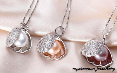 Sterling Silver 925 Pendant Necklace Genuine Freshwater Pearl Full Shell SALE!!!