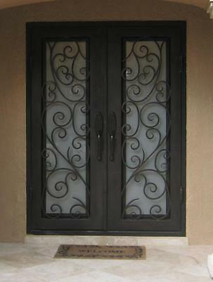 "Atlantic Wrought Iron Door 61.5""W x 81""H Frost Glass Right In Swing In Stock"