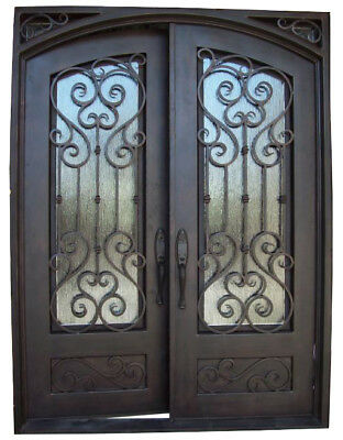 "Atlantis Wrought Iron Entry Door 61.5""W x 81""H Frost Glass Left Swing In Stock"