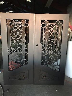 "Normandie Wrought Iron Entry Door 61.5""W x 81""H Frost Glass Right Swing In Stock"