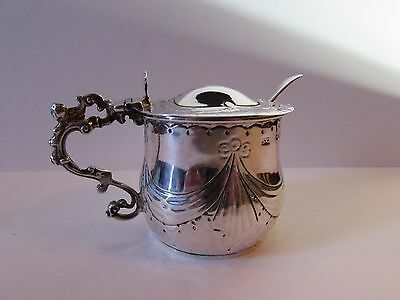 Antique Solid Silver mustard pot London 1887 and mustard spoon