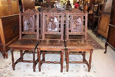 Set of 6 French Antique Oak Brittany Carved Dining Chairs Living Room Furniture