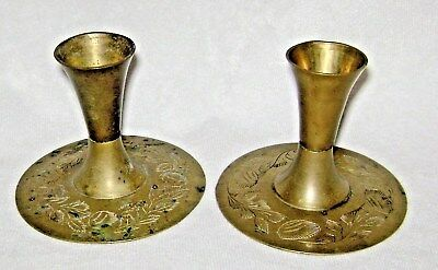 Vintage Pair Solid Brass Candleholders Floral Engraved by Sphinx India