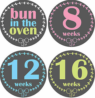 Personalised Weekly Pregnancy Stickers, Belly Stickers, Baby Bump Stickers_P002