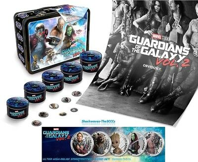 2017 SILVER GUARDIANS OF THE GALAXY VOL. 2 COIN SET with OVERSIZED LUNCHBOX