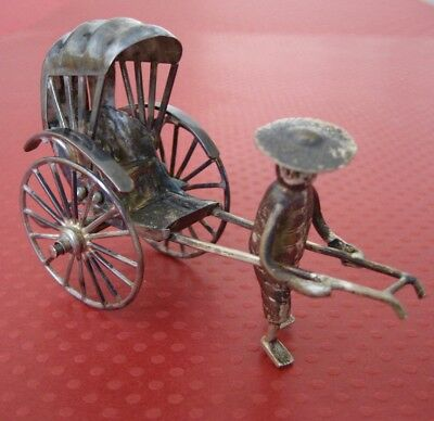 Vintage Sterling Silver Miniature Chinese RICKSHAW 205