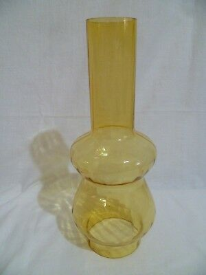 Vintage Amber Glass Lantern Oil Lamp Chimney Light Kerosene Ribbed Replacement