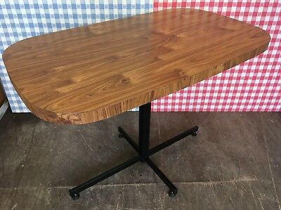 Retro Mid-Century Benchairs Ben-Chairs Wood Effect Formica Kitchen Dining Table