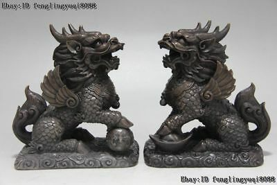 China Copper Bronze Evil Foo Dog Lion Brave troops Kylin Kirin Kilin Statue pair
