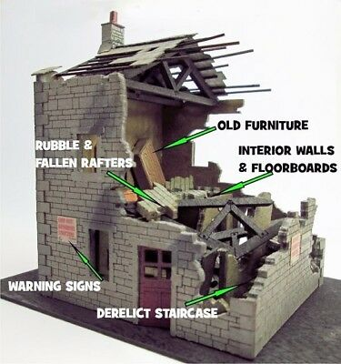 Ancorton Models UK - Derelict House - OO/HO Model trains and War Games