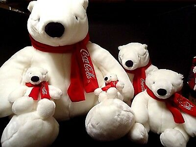 5 BOYDS Coca Cola Plush Polar Bears HUGE to SMALL Red Scarf Coke Advertising