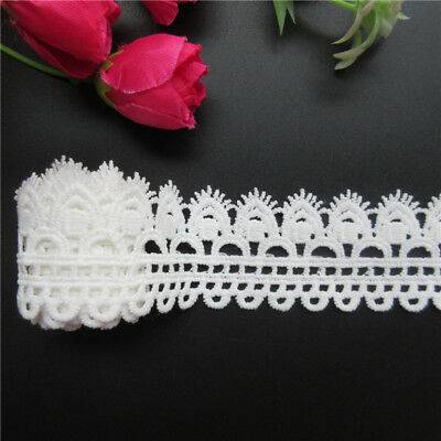 1 yd Vintage Cotton Crochet Lace Trim Ribbon Embroidered Appliques Sewing Craft