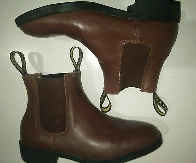 Men's size 7.5 BAXTER Appaloosa Brown Leather Horse Riding Boots Elastic Sides