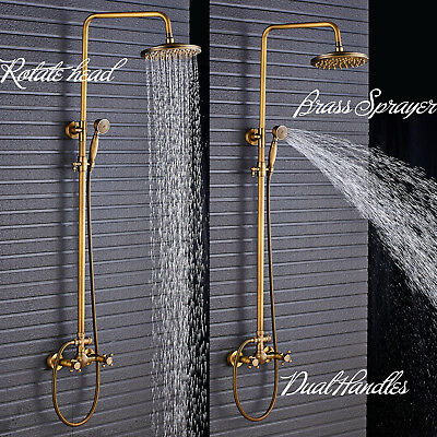 Antique Brass Shower Faucet 8-inch Rain Head Hand Shower Spray Wall Mount Tap US