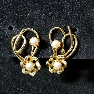 Vintage Costume Jewelry Heart Flower Pearl Back Clip On Earrings